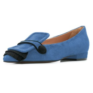 Blue Suede Fringe Loafers for women