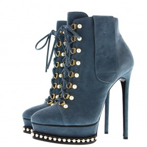 Blue Suede Platform Lace Up Boots Pearl Stiletto Heel Ankle Boots