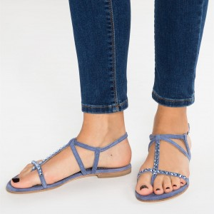 Blue Summer Sandals Open Toe Flats Slingback Sandals with Rhinestone