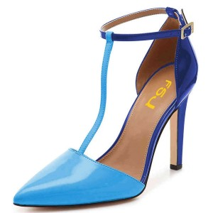 Blue T Strap Stiletto Heels Pointy Toe Patent Leather Pumps
