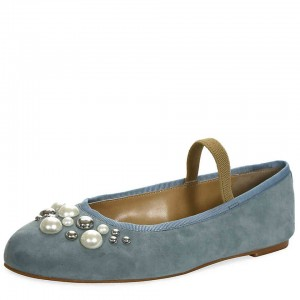 Blue Velvet Beaded Mary Jane Shoes Round Toe Flats with Studs