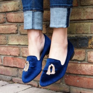 Navy Velvet Tassel Loafers Casual Shoes for Women