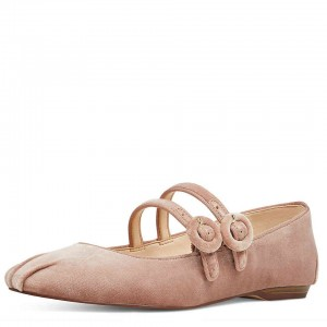 Blush Velvet  Buckles Ballet Flats Round Toe Two Strap Mary Jane Shoes