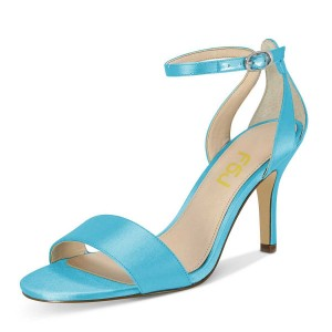 Blue Wedding Heels Satin Ankle Strap Open Toe Stilettos Sandals for Bridesmaid