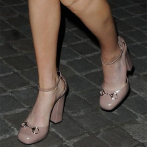 Blush Ankle Strap Heels Vintage Chunky Heels Pumps Shoes