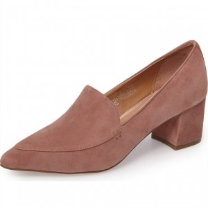 Blush Block Heels Suede Loafers for Women