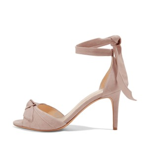 Blush Bow Heels Peep Toe Ankle Strap Stiletto Heel Sandals