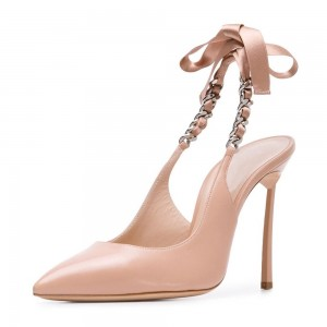 Blush Bow Stiletto Heel Slingback Pumps