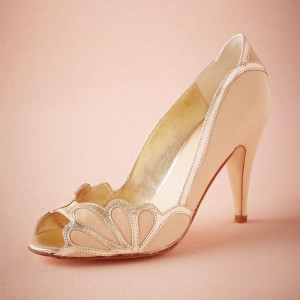 Blush Bridal Heels Peep Toe Pumps for Wedding