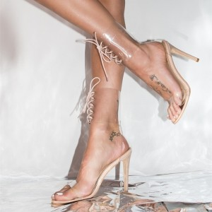 Blush Clear Heels Open Toe Sandals Stiletto Heels Lace up Sandals