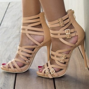 Nude Gladiator Sandals Stiletto High Heels US Size 4-15