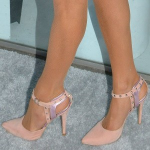 Blush Heels Rivets Stiletto Heels Ankle Strap Pumps