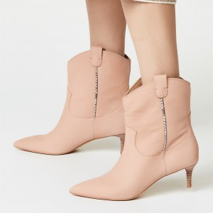 Blush Kitten Heel Boots Pointy Toe Ankle Booties