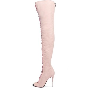 Blush Lace up Boots Peep Toe Knee Over Boots Fashion Boots
