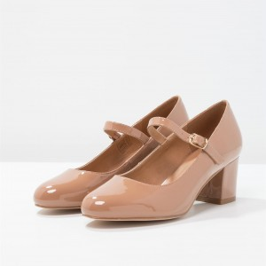Blush Mary Jane Pumps Patent Leather Block Heels Office Shoes