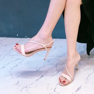 Blush Open Toe Stiletto Heels Ankle Strap Sandals for Women