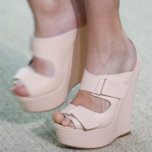 Blush Platform Buckles Wedge Heels Mule Sandals