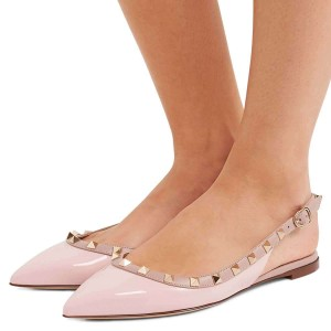 Blush Pointy Toe Rockstud Slingback Shoes Comfortable Flats