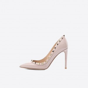 Blush Rivets Stiletto Heels Pumps Office Heels
