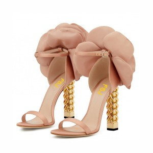 Blush Satin Floral Heels Gold Metal Chain Heel Style Prom Sandals
