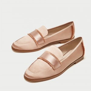 Blush Satin Loafers for Women Cute Round Toe Flats with Fringe