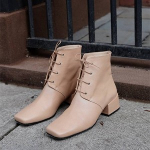 Blush Square Toe Lace up Chunky Heels Ankle Booties