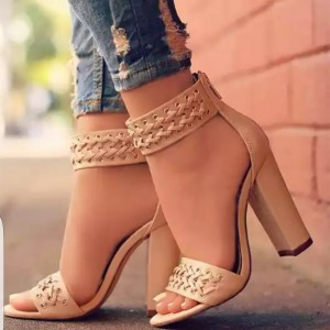 Blush Vegan Leather Straw Chunky Heel Sandals