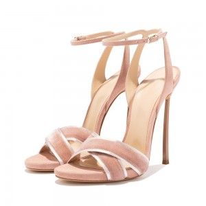 Blush Suede Ankle Strap Heels Sandals