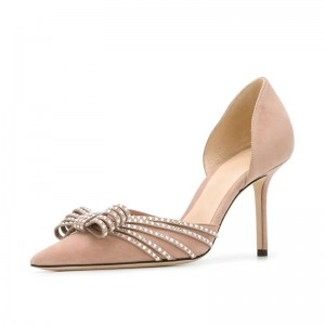 Blush Suede Bow Heels Stiletto Heel Pumps