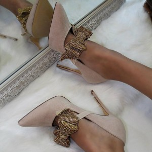 Blush Suede Bow Pointy Toe Stiletto Heels Pumps