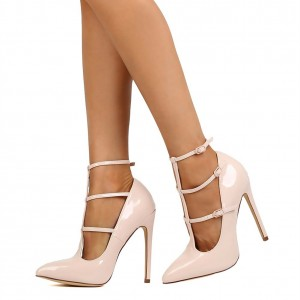 Blush T Strap Heels Buckles Stiletto Heels Pumps Sexy Shoes