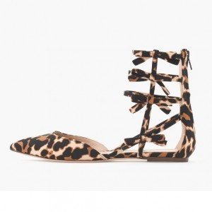 Women's Bow Lace Up Leopard Print Flats Gladiator Sandals