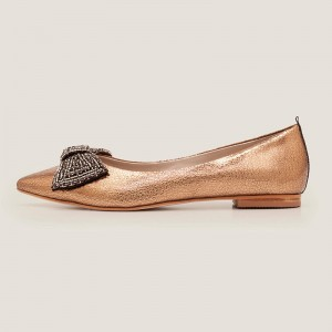 Bronze Bow Pointy Toe Comfortable Flats