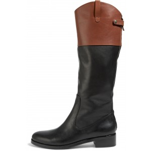 Brown and Black Stitching Color Round Toe Flat Knee High Fashion Boots