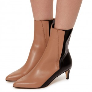 Brown and Black Two Tone Ankle Booties Pointy Toe Kitten Heel Boots