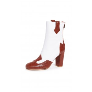 Brown and White Joint Chunky Heel Boots