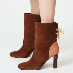Brown Back Lace up Suede Boots Round Toe Chunky Heel Ankle Booties