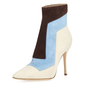 Blue and Ivory Fall Boots Suede Pointy Toe Stiletto Heel Ankle Booties