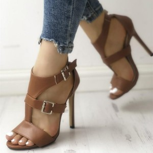 Brown Buckles T Strap Stiletto Heels Open Toe Sandals for Women