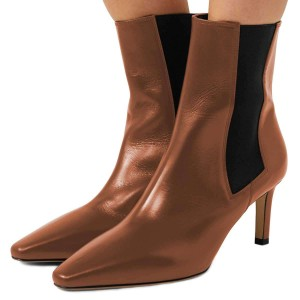 Brown Chelsea Boots Stiletto Heel Low Heel Ankle Boots