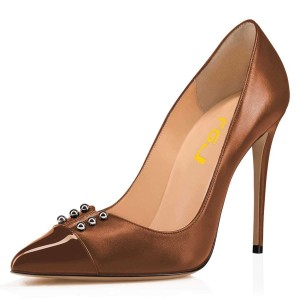 Brown Classic Pointy Toe Stiletto Heels Pumps Office Heel