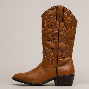 Brown Cowgirl Boots Studs Low Heel Mid Calf Boots