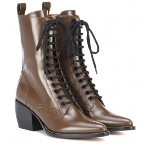 Brown Custom Made Block Heel Lace up Ankle Boots