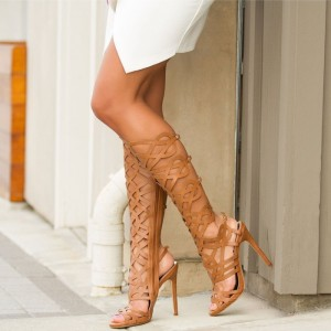 Brown Cut out Gladiator Heels Knee-high Stiletto Heels Sandals