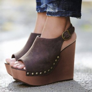 Brown Heeled Wedges Open Toe Slingback Vintage Shoes