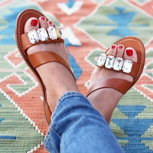 Brown Jeweled Sandals Comfortable Flats Rhinestone Beach Sandals