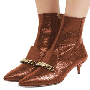 Brown Kitten Heel Boots Pointy Toe Chains Ankle Booties