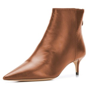 Tan Kitten Heel Boots Pointy Toe Ankle Booties