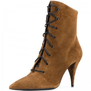 Brown Suede Lace Up Boots Cone Heel Ankle Boots