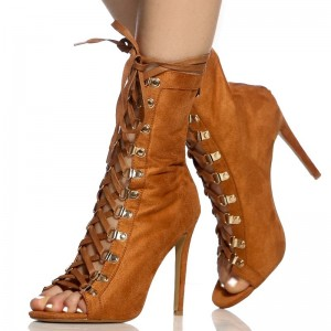Brown Lace up Boots Peep Toe Stiletto Heels Suede Summer Ankle Boots